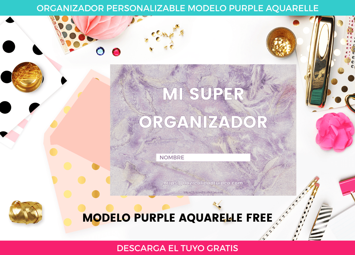 organizador imprimible purple aquarelle